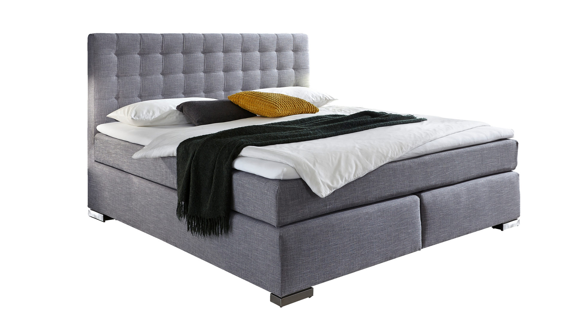 Boxspringbett Meisemobel Aus Stoff In Grau PARTNERRING COLLECTION Mit Federkern Grauer Stoffbezug Coulture