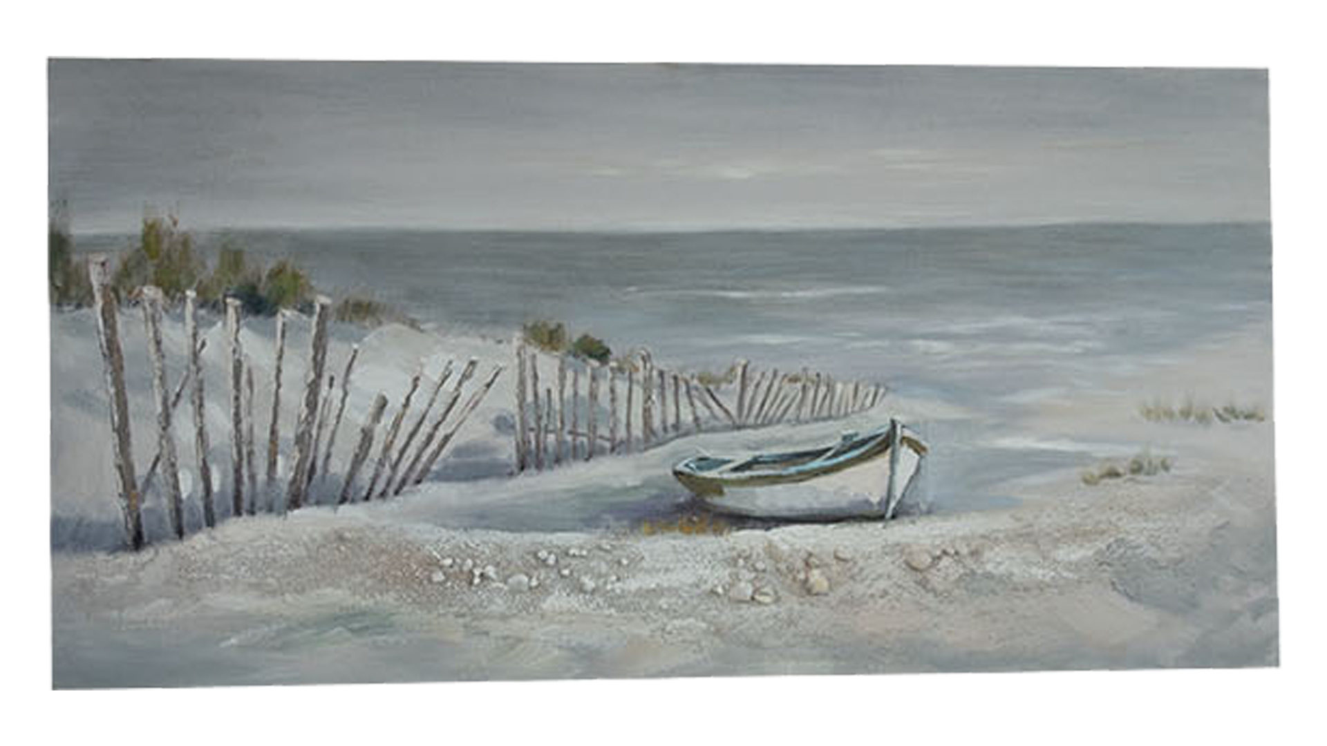 Acrylbild Vme-import aus Stoff in Blau SO!WONDERFUL Leinwandbild Beach View Acrylfarben, Strandmotiv – ca. 70 x 140 cm