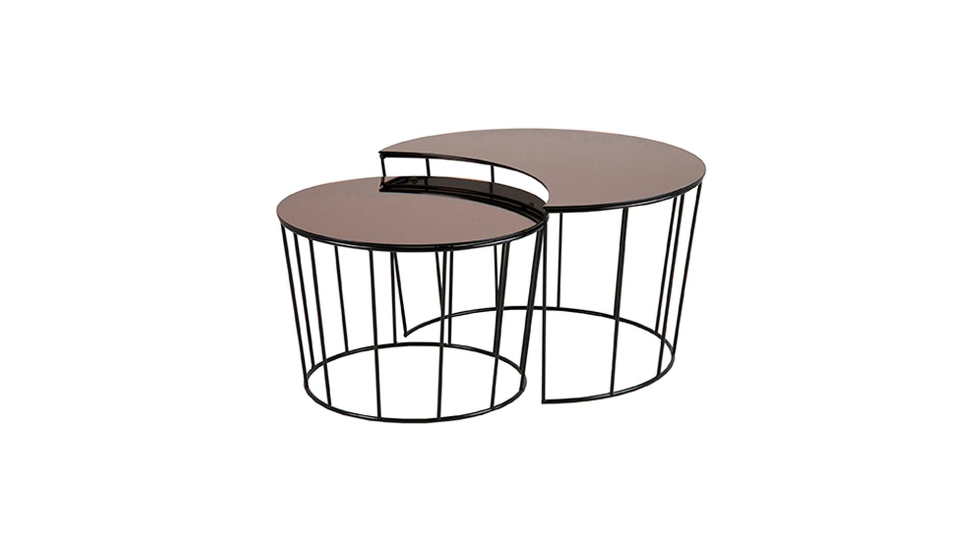 M/öbelb/örse Runde Couchtische im 2er Set Kaffeetisch aus Teak und Metall Satztisch Holztisch Blumenst/änder Blumenhocker Tisch Massivholz Rund Set